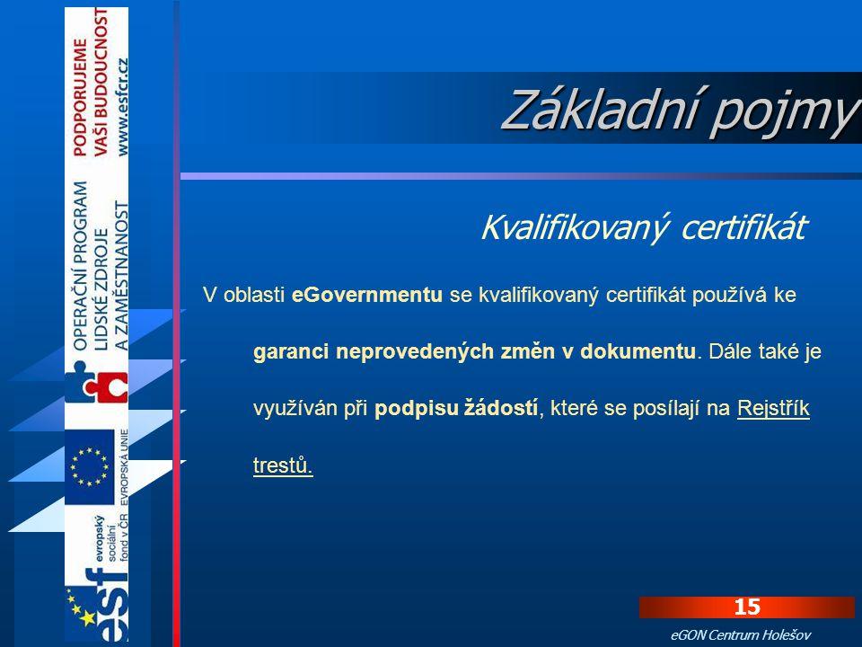 Základní pojmy Kvalifikovaný certifikát
