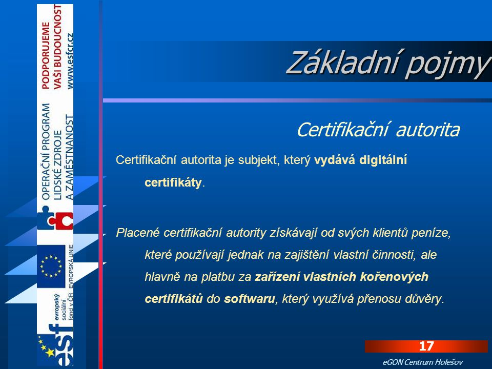 Základní pojmy Certifikační autorita