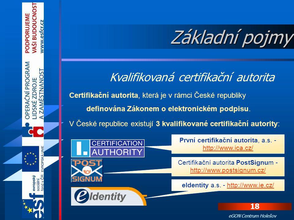Základní pojmy Kvalifikovaná certifikační autorita