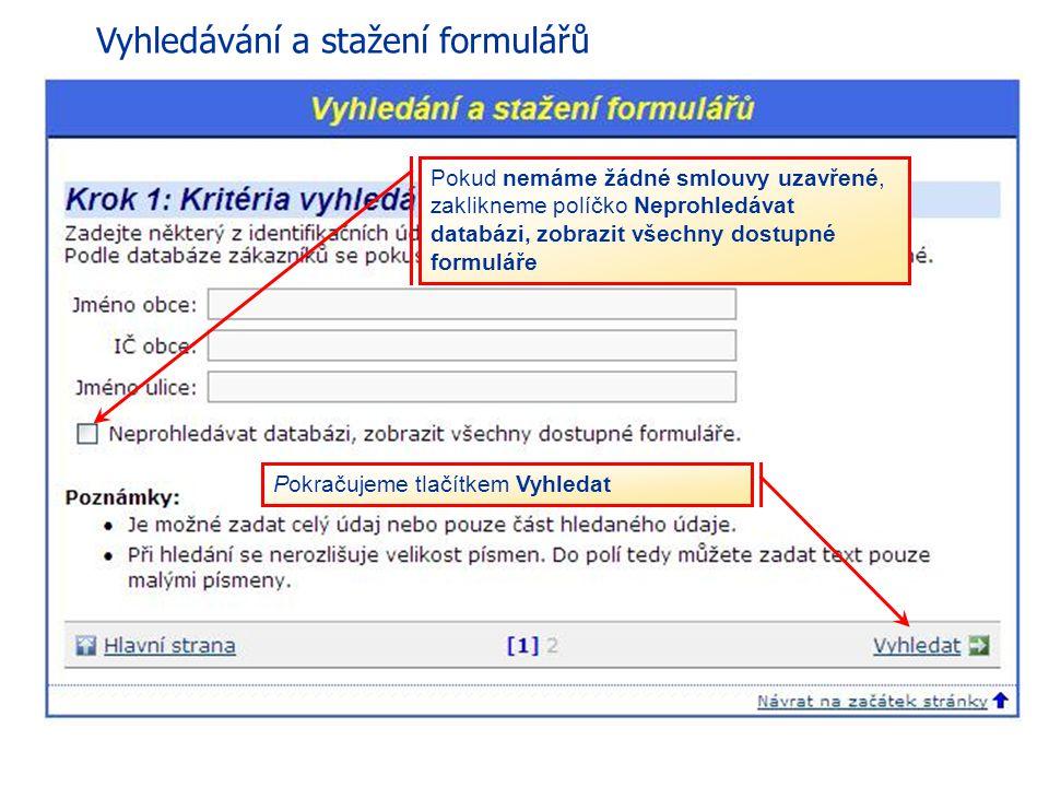 Vyhledávání a stažení formulářů