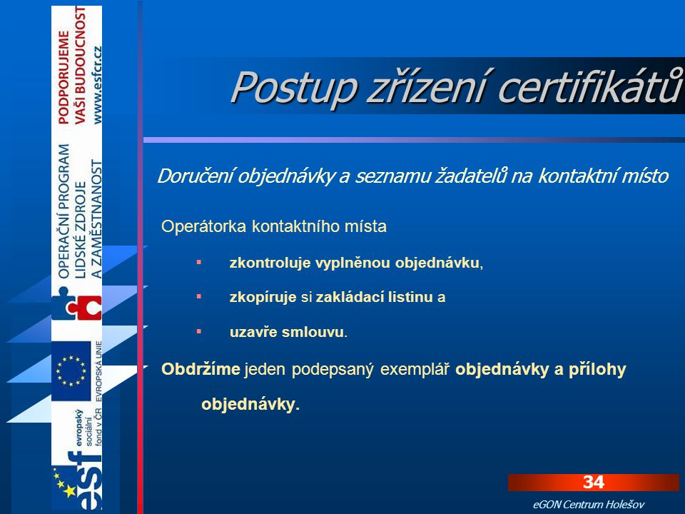 Postup zřízení certifikátů