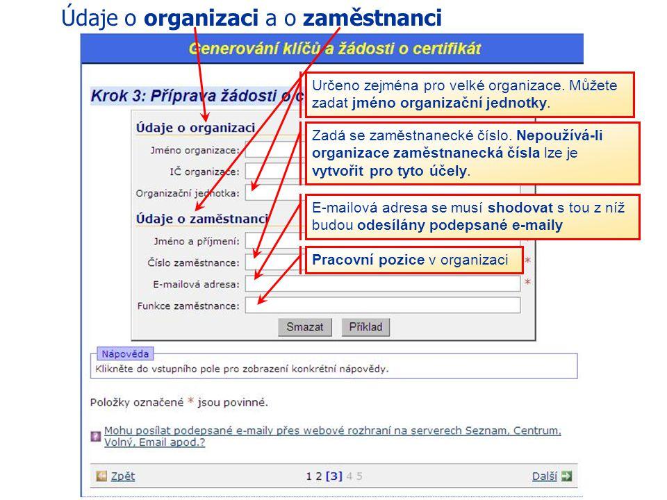 Údaje o organizaci a o zaměstnanci