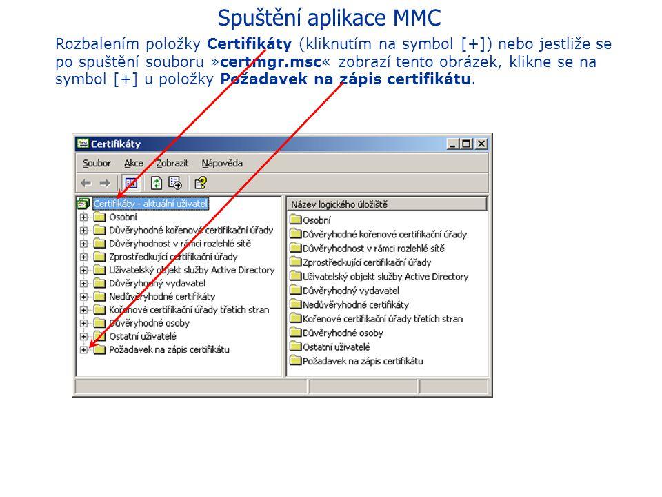 Spuštění aplikace MMC