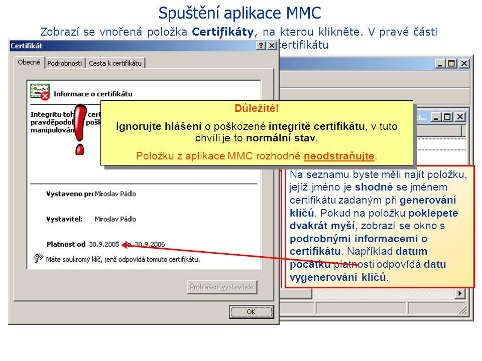 Položku z aplikace MMC rozhodně neodstraňujte.