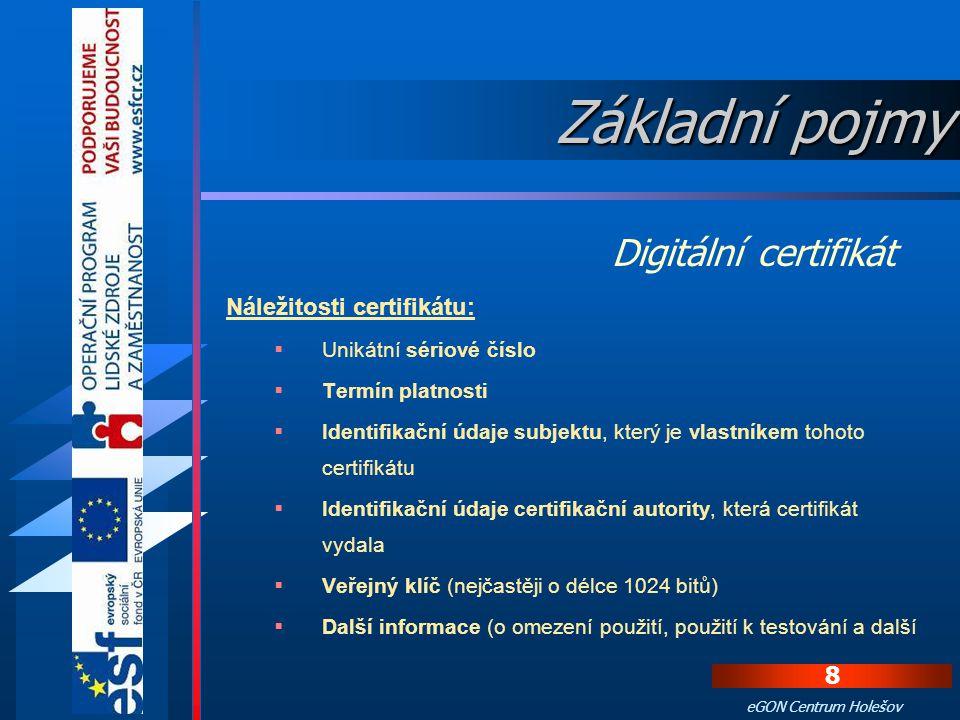 Základní pojmy Digitální certifikát Náležitosti certifikátu: