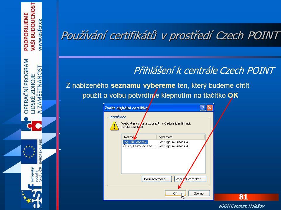 Používání certifikátů v prostředí Czech POINT