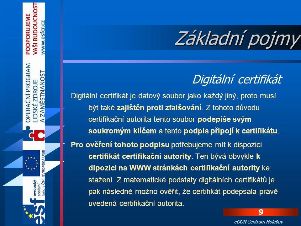 Základní pojmy Digitální certifikát