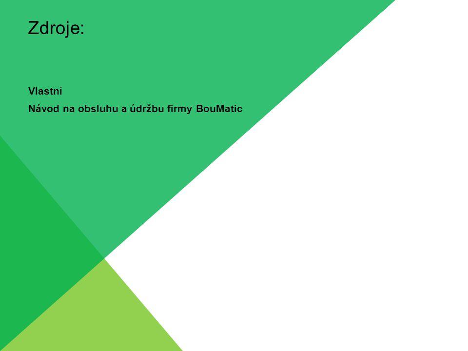 Zdroje: Vlastní Návod na obsluhu a údržbu firmy BouMatic