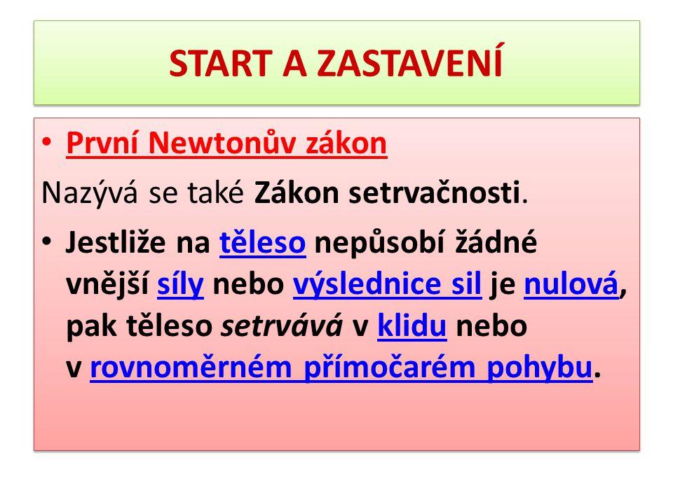 START A ZASTAVENÍ První Newtonův zákon
