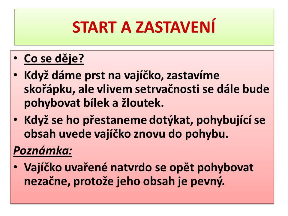 START A ZASTAVENÍ Co se děje
