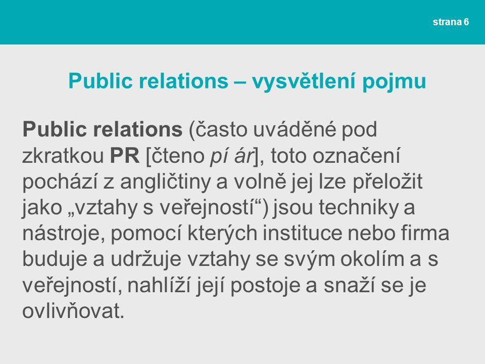 Public relations – vysvětlení pojmu