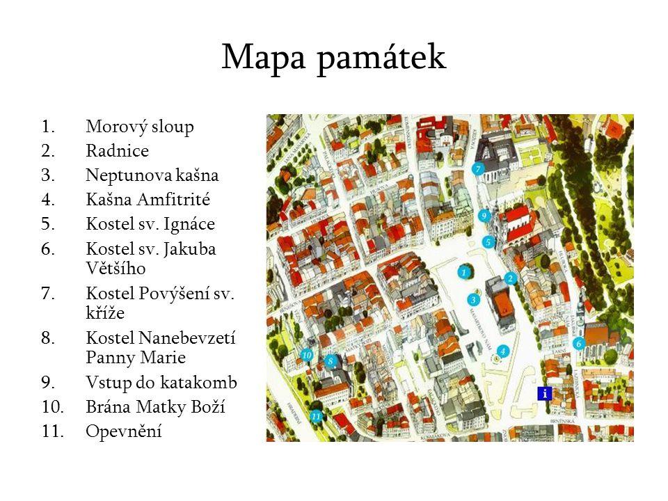 Mapa památek Morový sloup Radnice Neptunova kašna Kašna Amfitrité