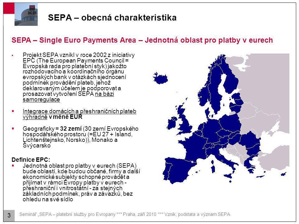 Agenda SEPA – obecná charakteristika Postup zavedení SEPA