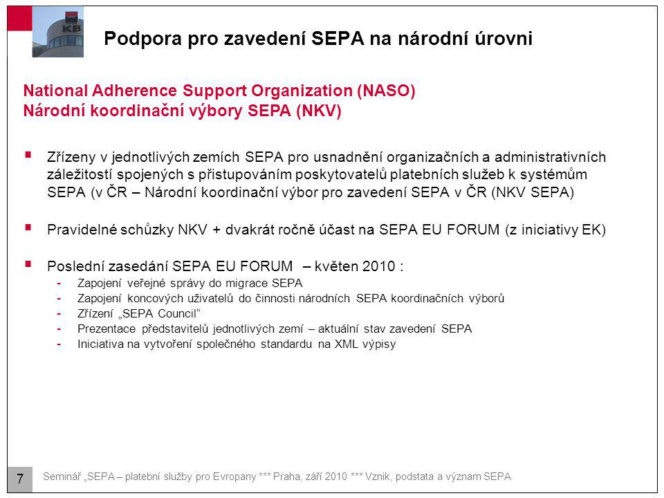 Zavedení SEPA - legislativa