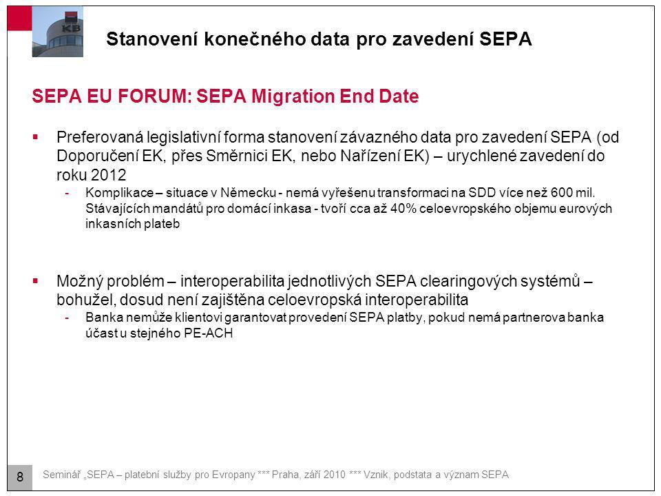 Podpora pro zavedení SEPA na národní úrovni