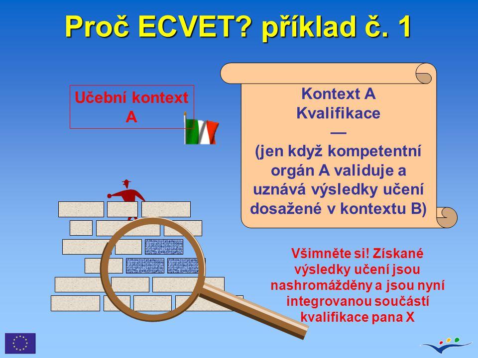 Proč ECVET příklad č. 1 Kontext A Kvalifikace — (jen když kompetentní orgán A validuje a uznává výsledky učení dosažené v kontextu B)