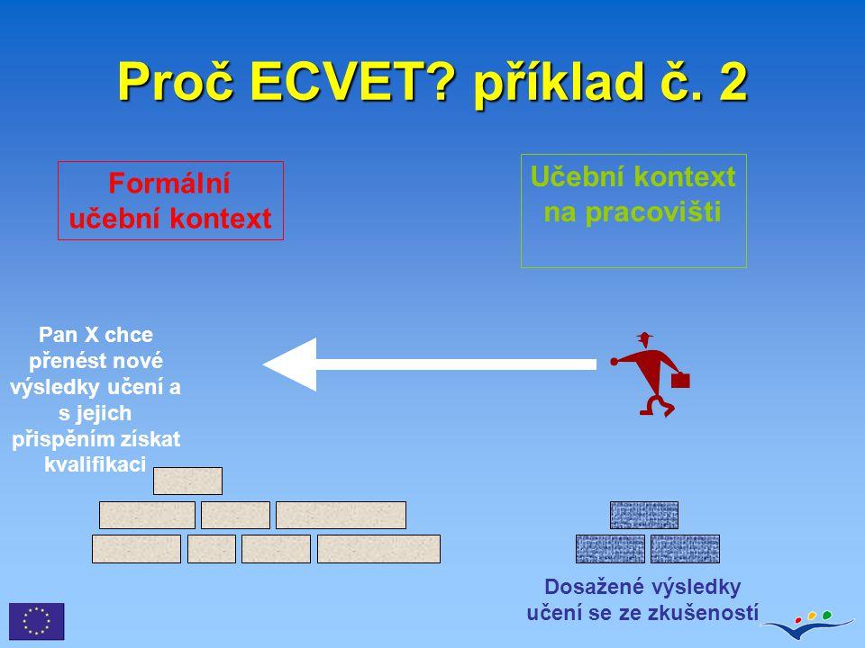 Proč ECVET příklad č. 2 Učební kontext na pracovišti