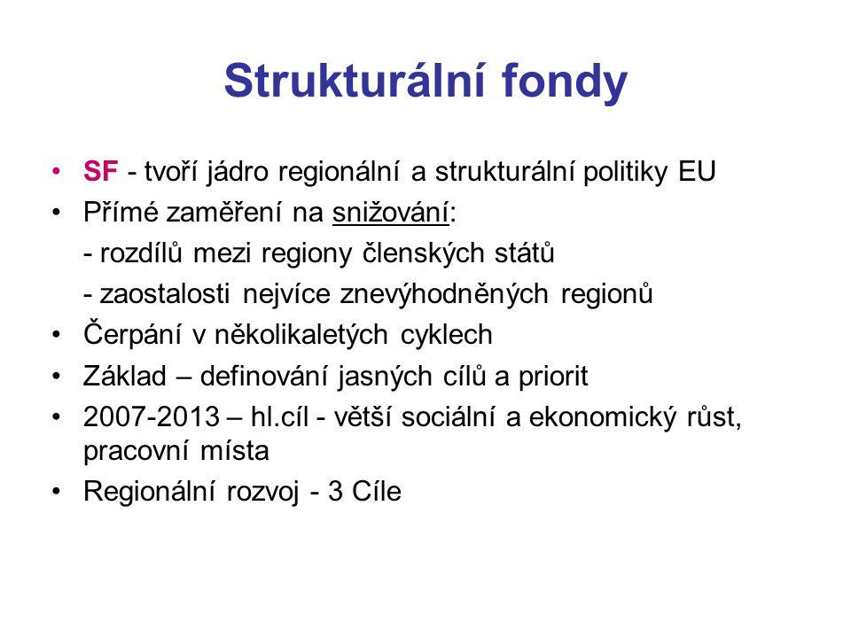 Strukturální fondy SF - tvoří jádro regionální a strukturální politiky EU. Přímé zaměření na snižování: