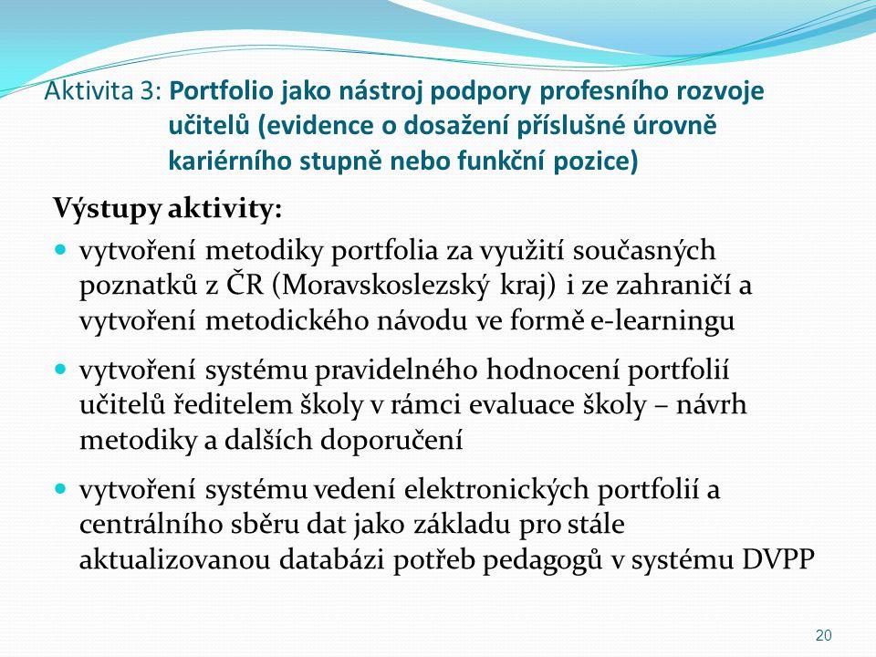 Aktivita 3: Portfolio jako nástroj podpory profesního rozvoje učitelů (evidence o dosažení příslušné úrovně kariérního stupně nebo funkční pozice)
