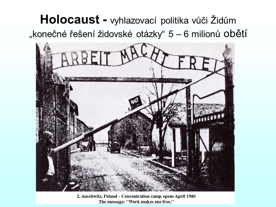 """Holocaust - vyhlazovací politika vůči Židům """"konečné řešení židovské otázky 5 – 6 milionů obětí"""