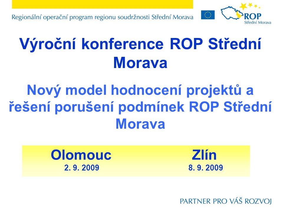 Výroční konference ROP Střední Morava Nový model hodnocení projektů a řešení porušení podmínek ROP Střední Morava