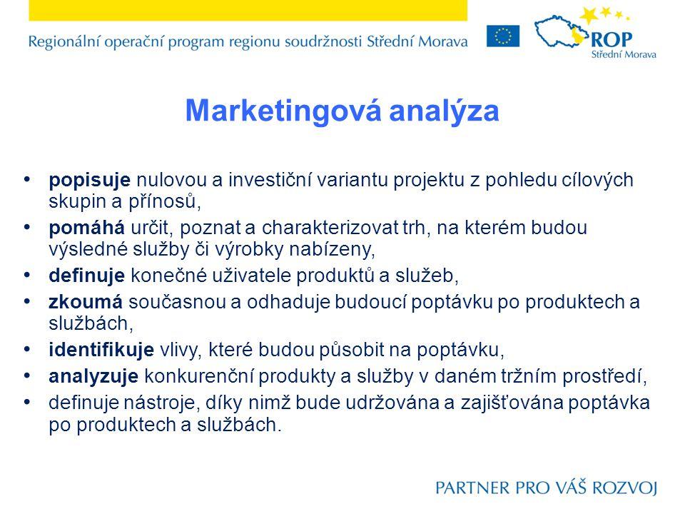 Marketingová analýza popisuje nulovou a investiční variantu projektu z pohledu cílových skupin a přínosů,