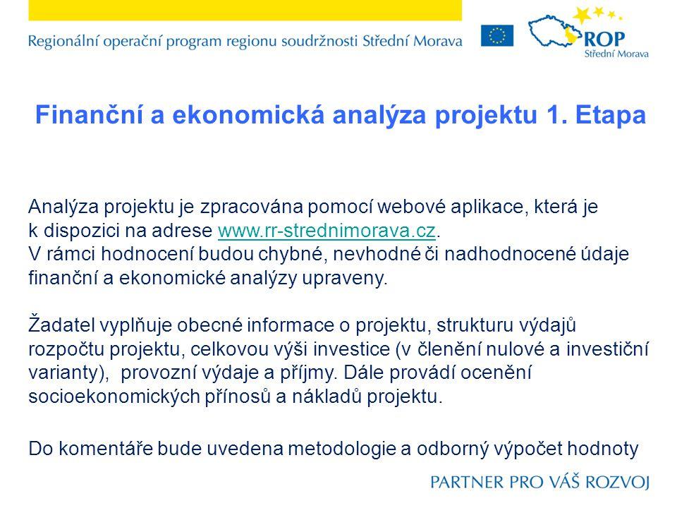 Finanční a ekonomická analýza projektu 1. Etapa