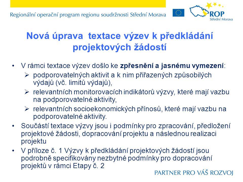 Nová úprava textace výzev k předkládání projektových žádostí