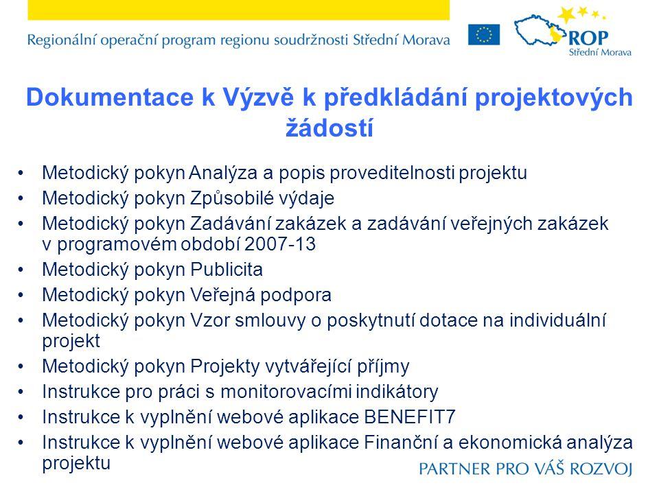 Dokumentace k Výzvě k předkládání projektových žádostí
