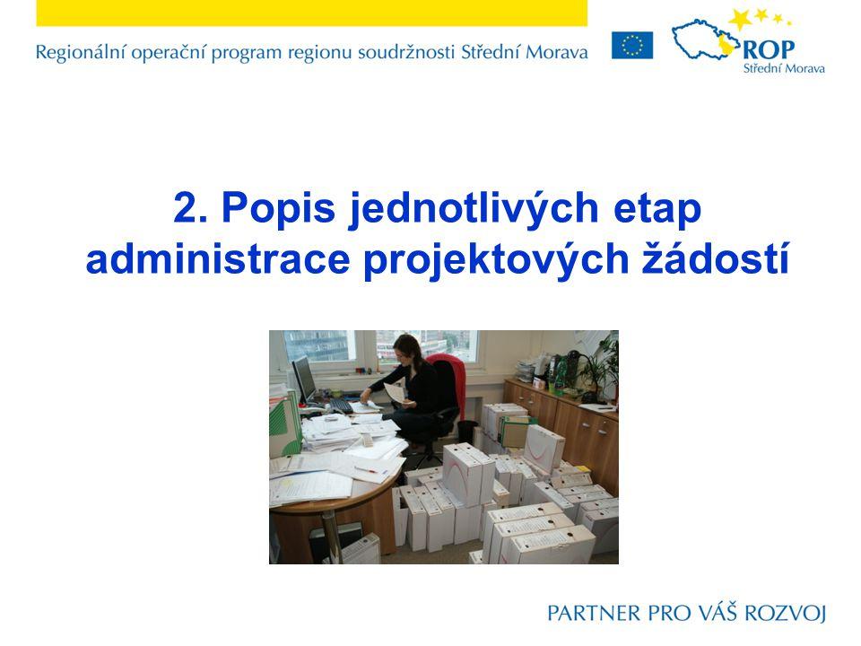 2. Popis jednotlivých etap administrace projektových žádostí