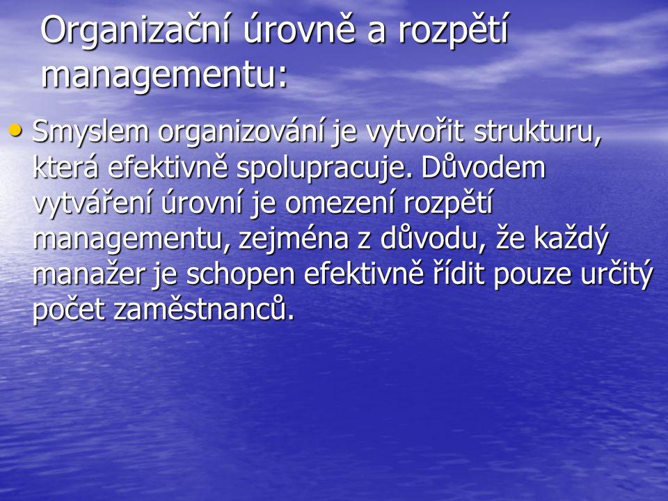 Organizační úrovně a rozpětí managementu: