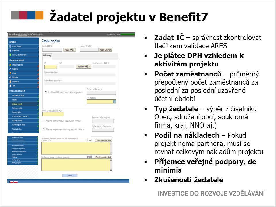 Žadatel projektu v Benefit7