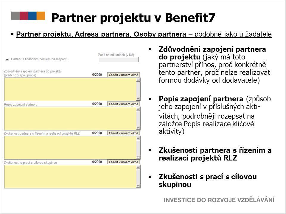 Partner projektu v Benefit7