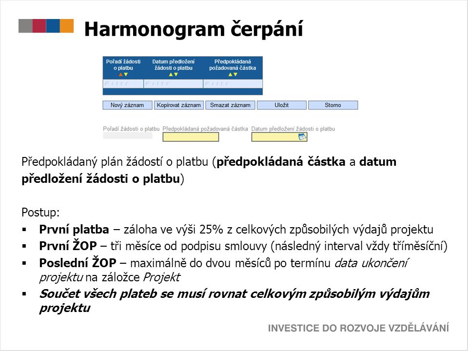 Harmonogram čerpání Předpokládaný plán žádostí o platbu (předpokládaná částka a datum. předložení žádosti o platbu)