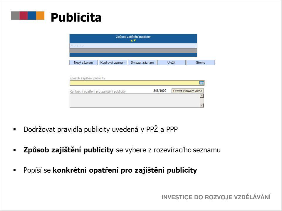 Publicita Dodržovat pravidla publicity uvedená v PPŽ a PPP