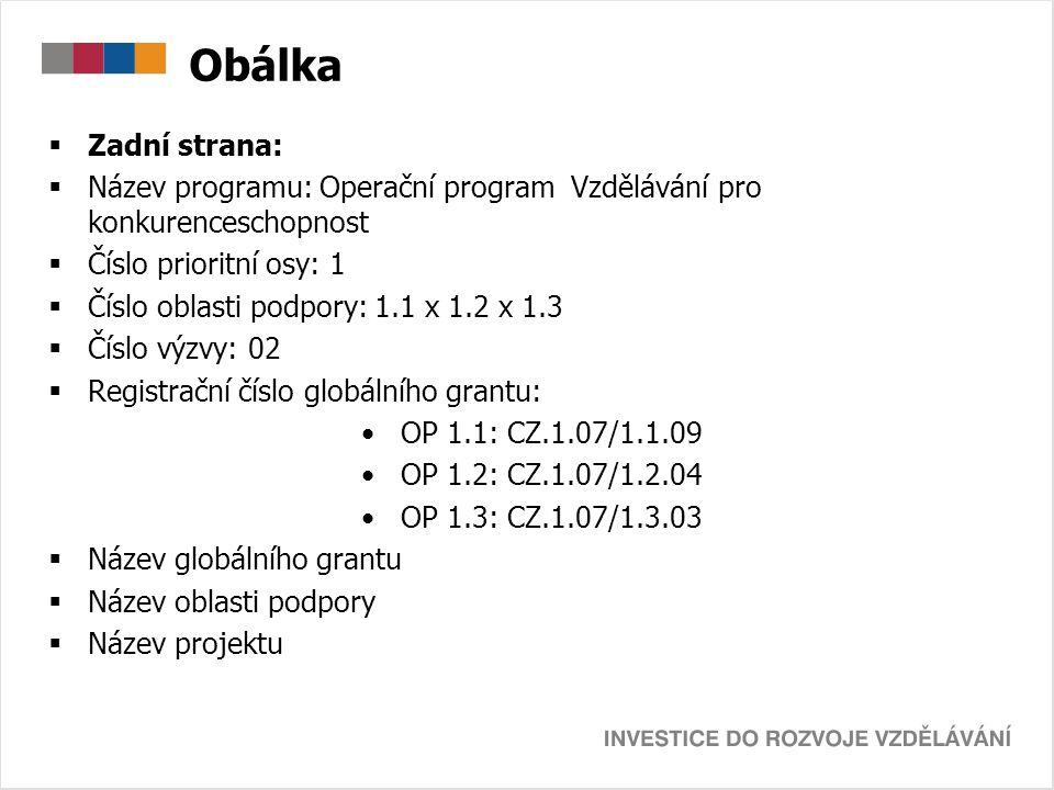 Obálka Zadní strana: Název programu: Operační program Vzdělávání pro konkurenceschopnost. Číslo prioritní osy: 1.