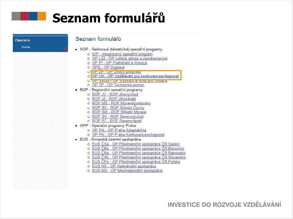 Seznam formulářů