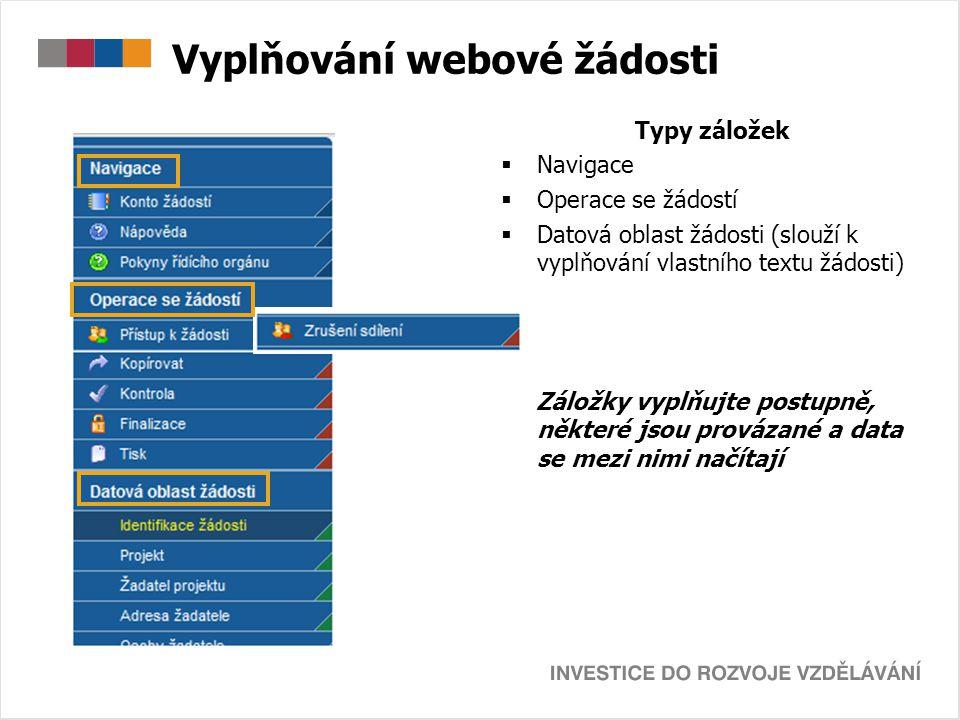 Vyplňování webové žádosti