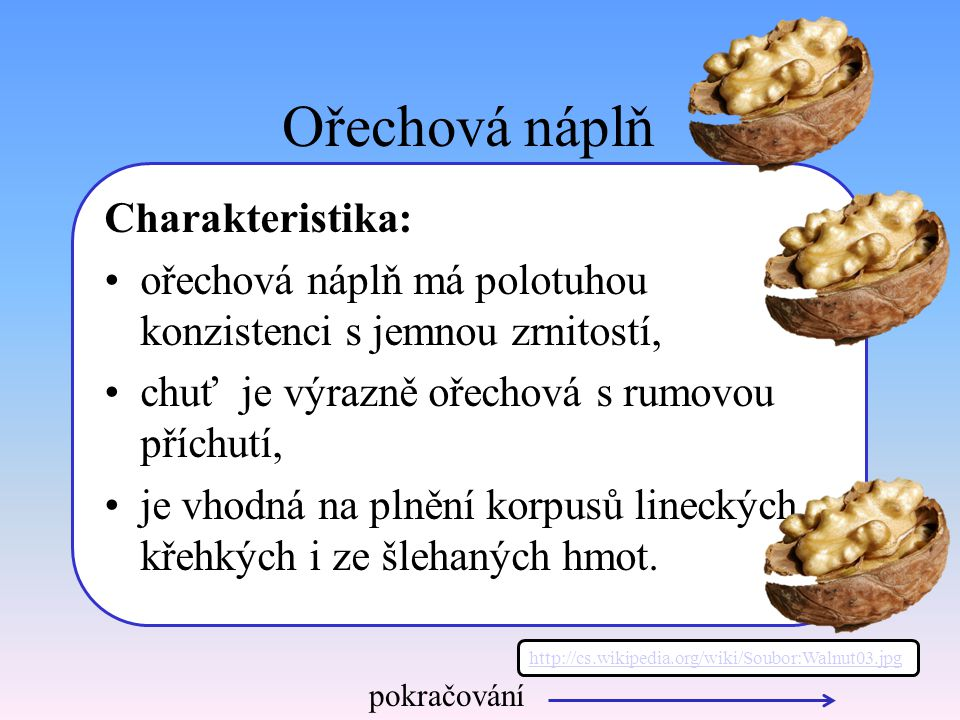 Ořechová náplň Charakteristika: