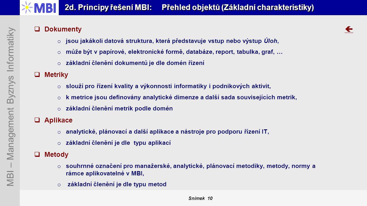 2d. Principy řešení MBI: Přehled objektů (Základní charakteristiky)