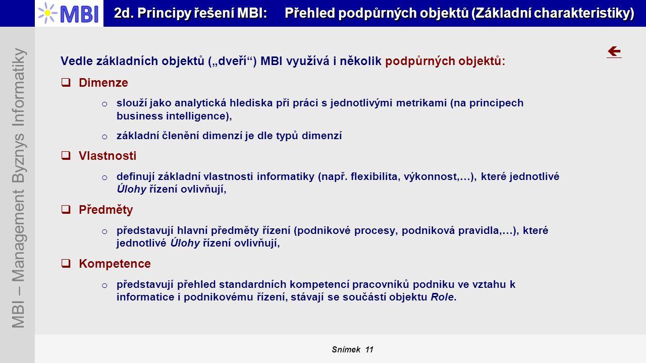 2d. Principy řešení MBI: Přehled podpůrných objektů (Základní charakteristiky)