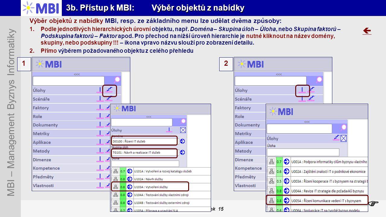 3b. Přístup k MBI: Výběr objektů z nabídky