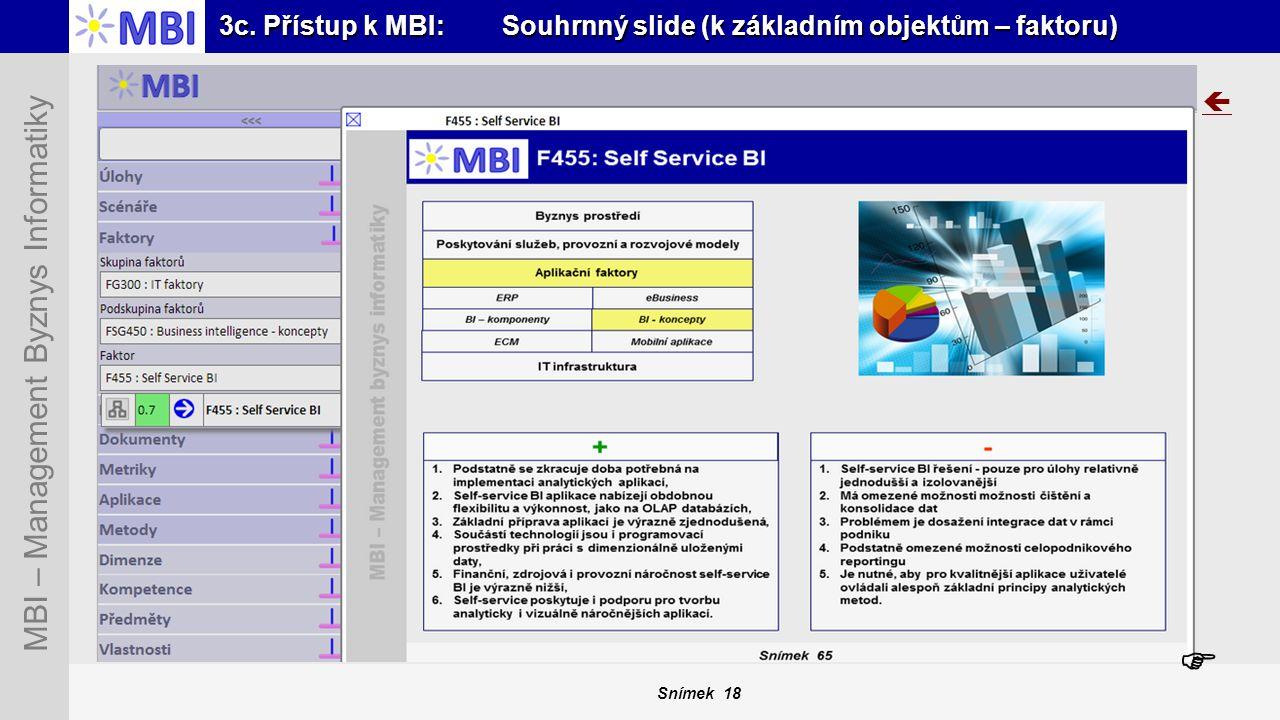 3c. Přístup k MBI: Souhrnný slide (k základním objektům – faktoru)