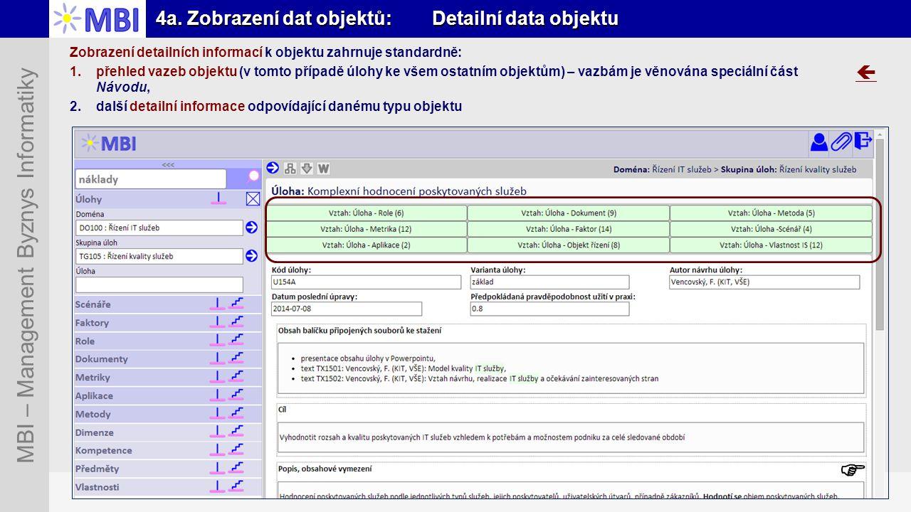 4a. Zobrazení dat objektů: Detailní data objektu