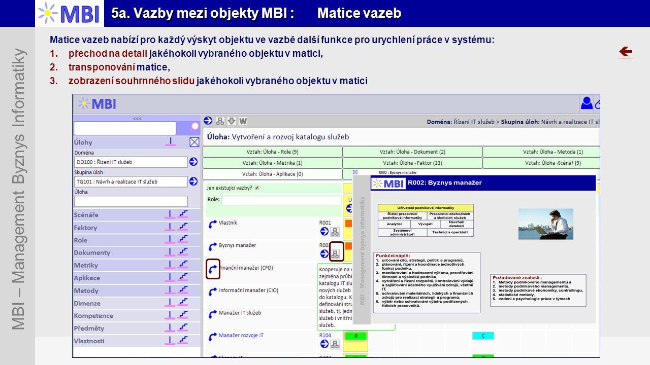 5a. Vazby mezi objekty MBI : Matice vazeb