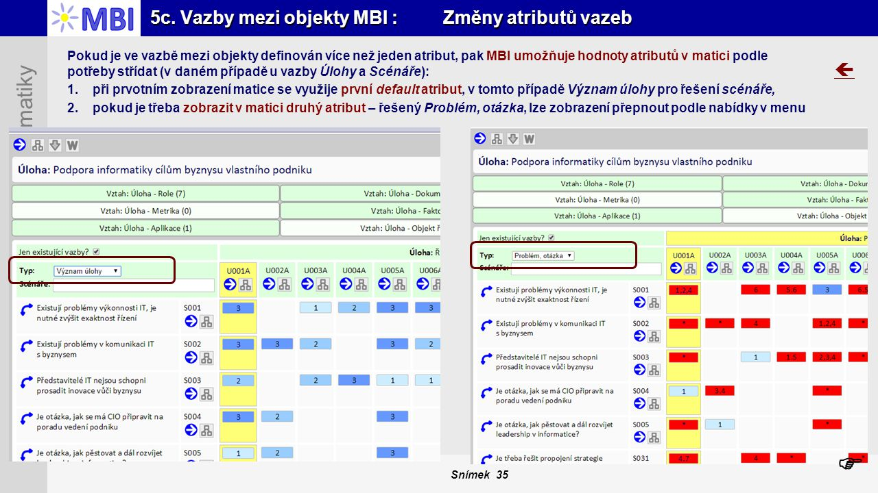 5c. Vazby mezi objekty MBI : Změny atributů vazeb