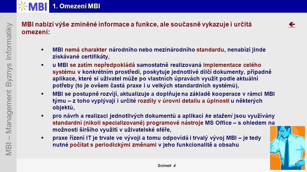 1. Omezení MBI MBI nabízí výše zmíněné informace a funkce, ale současně vykazuje i určitá omezení: