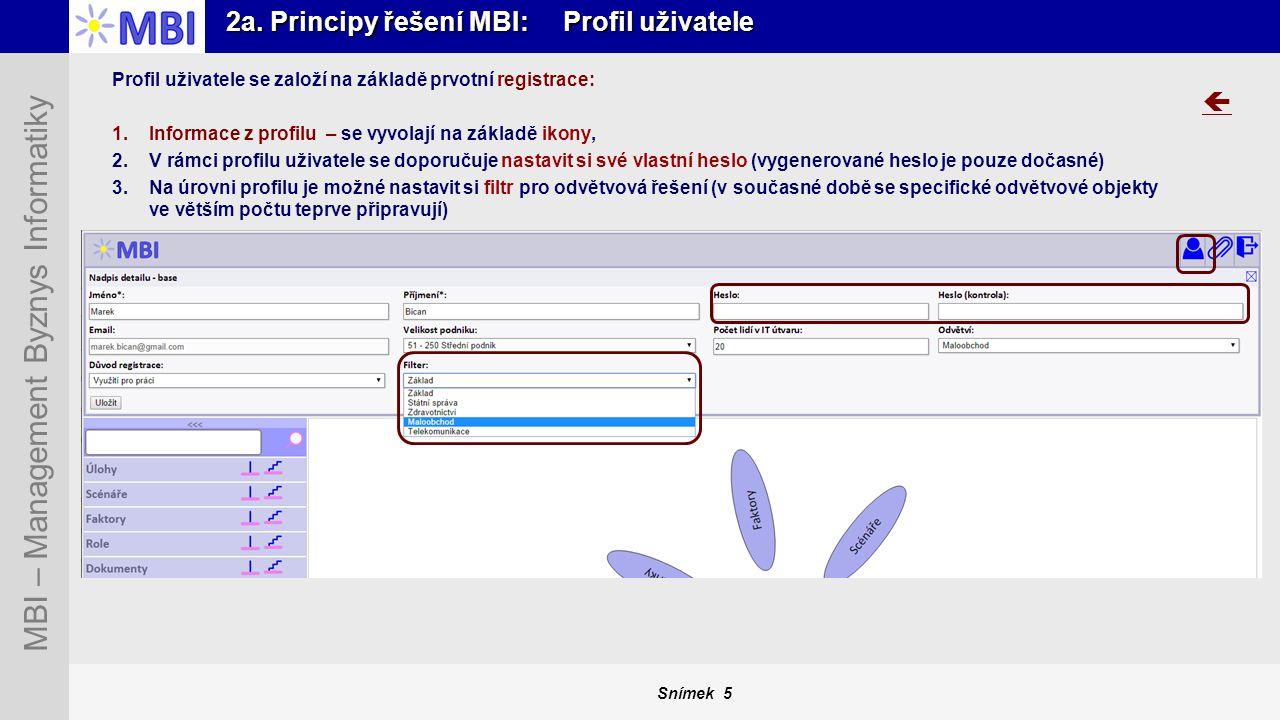2a. Principy řešení MBI: Profil uživatele