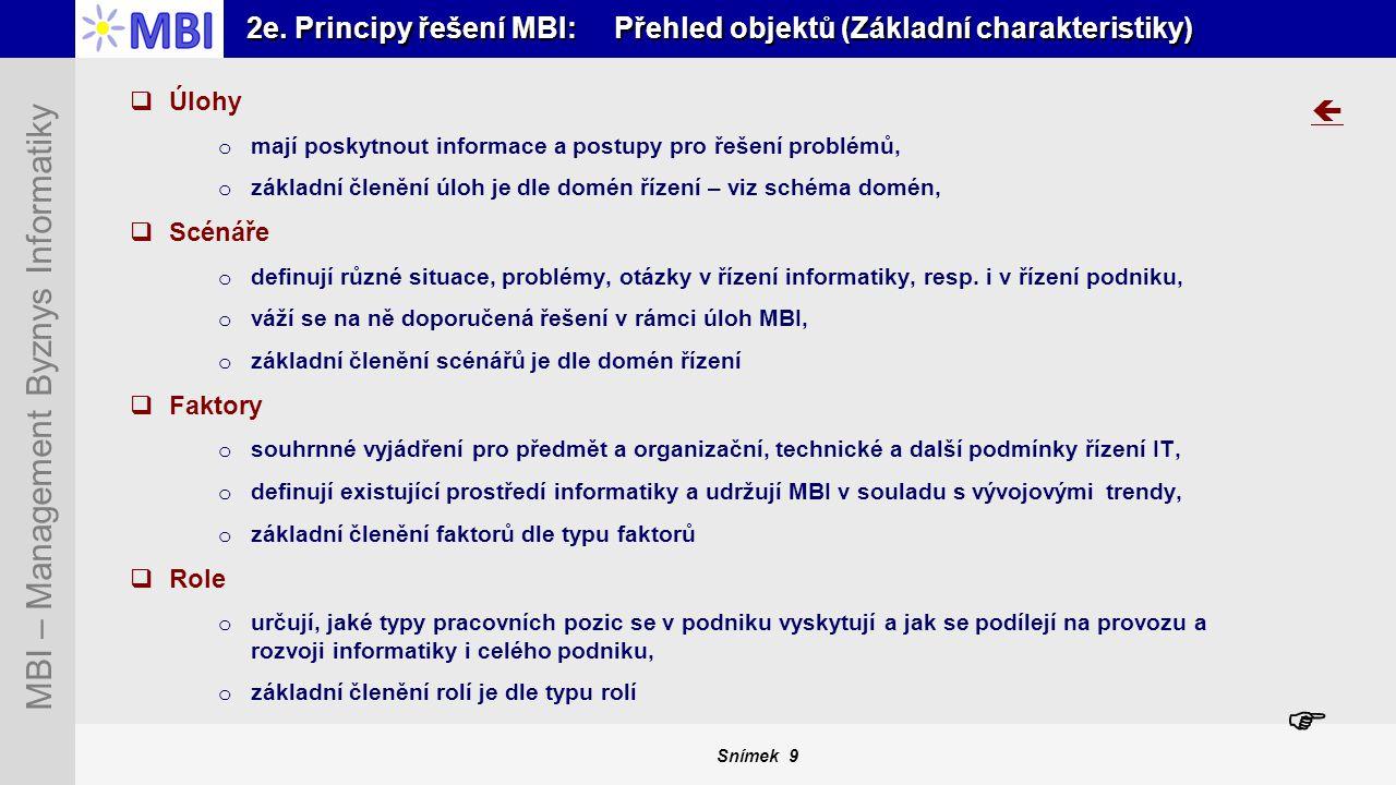 2e. Principy řešení MBI: Přehled objektů (Základní charakteristiky)