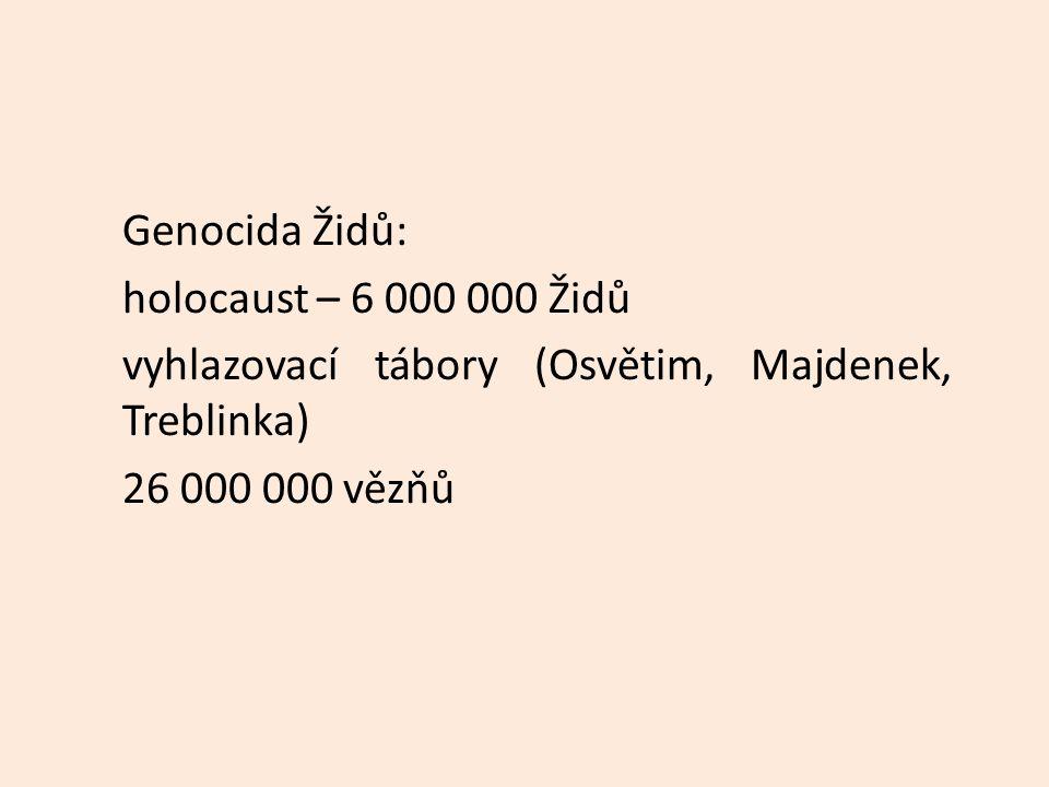 Genocida Židů: holocaust – 6 000 000 Židů vyhlazovací tábory (Osvětim, Majdenek, Treblinka) 26 000 000 vězňů